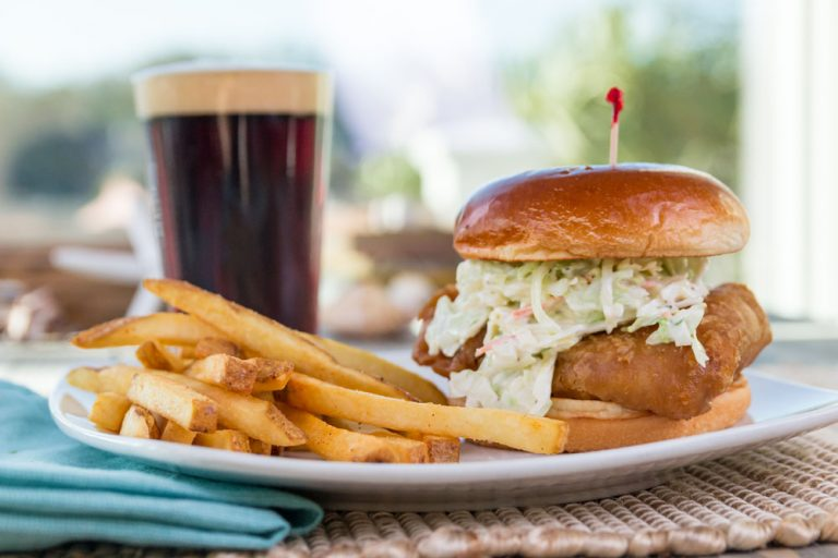 Bluewater Waterfront Grill, Beer Battered Cod Sandwich