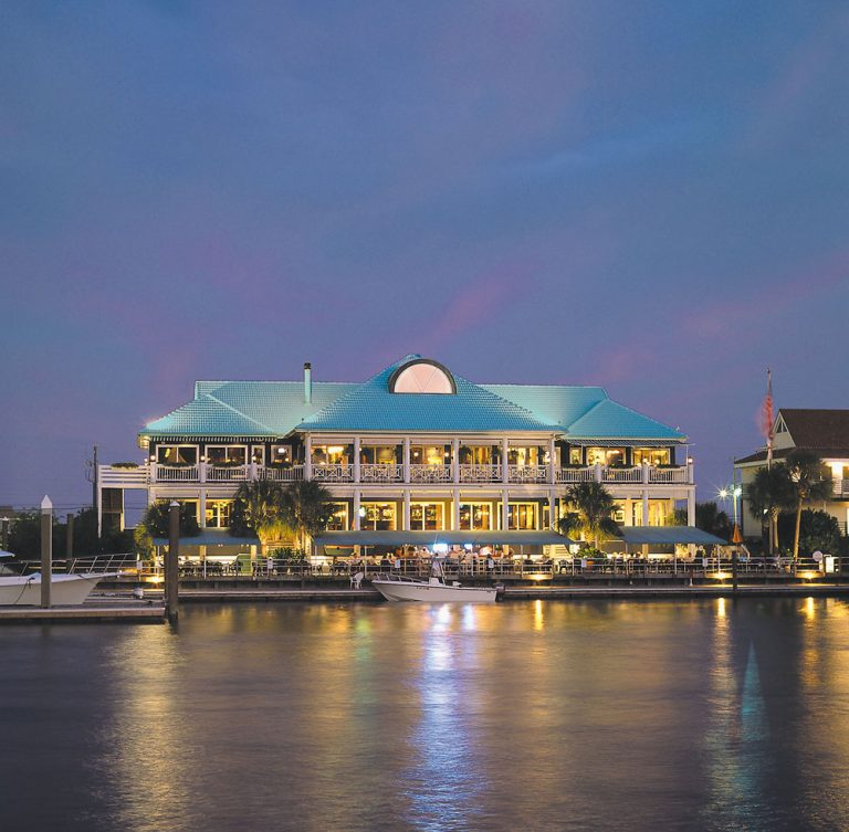 Botanicals Launch Party, Bluewater Waterfront Grill at night, Wrightsville Beach